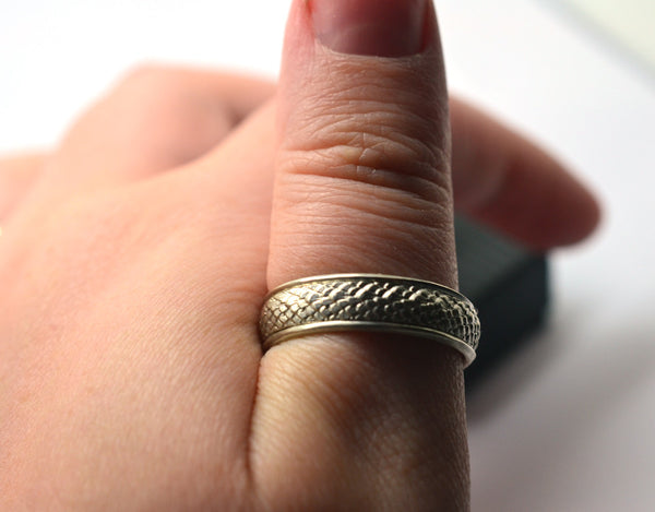 Fantasy Silver Dragon Scale Wedding Ring