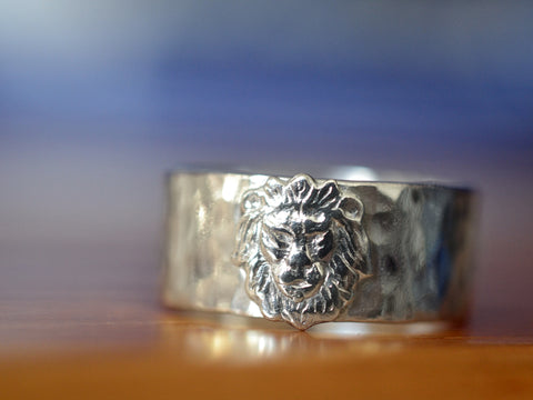 Handmade Sterling Silver Lion Wedding Band