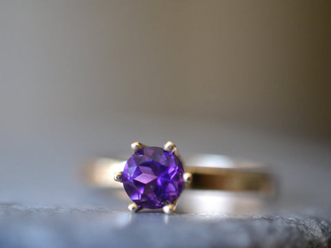 Amethyst Solitaire Engagement Ring in 14K Yellow Gold