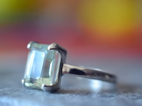 Emerald Cut Green Quartz Statement Ring in Sterling Silver