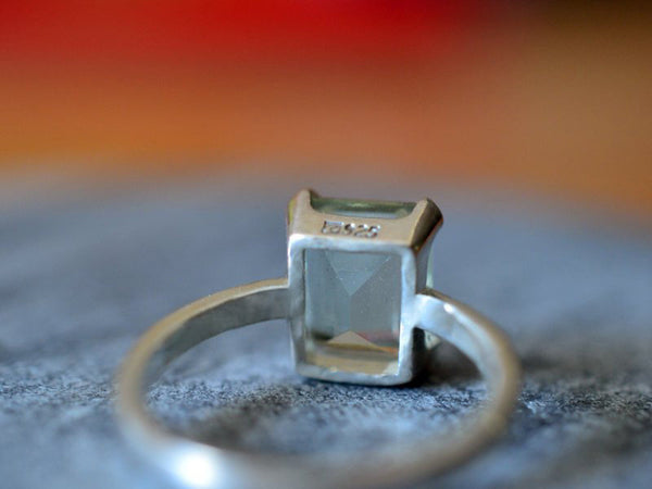 Personalised Green Quartz Gemstone Ring in Sterling Silver