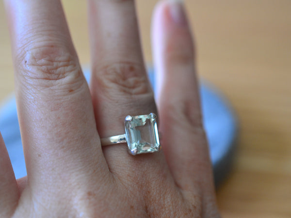 Emerald Cut Green Quartz Ring in Sterling Silver With Engraving