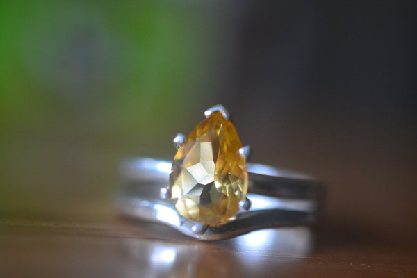 Pear Shape Citrine Bridal Ring Set in Sterling Silver