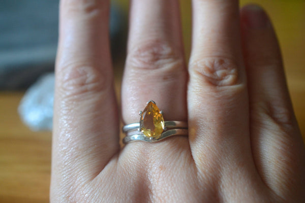 Simple Sterling Silver & Citrine Wedding Ring Set For Women