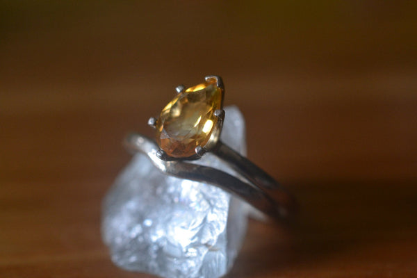 Faceted Tear Shaped Yellow Citrine Crystal Bridal Ring Set