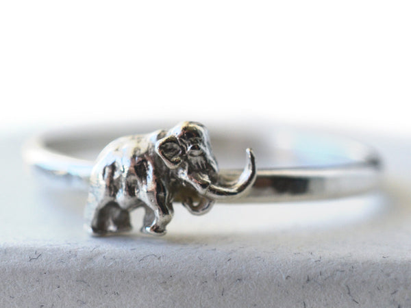 Sterling Silver Woolly Mammoth Charm Ring