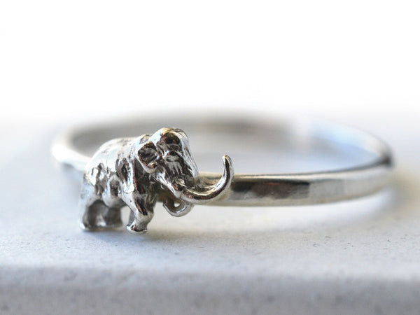 Woolly Mammoth Charm Ring in Sterling Silver
