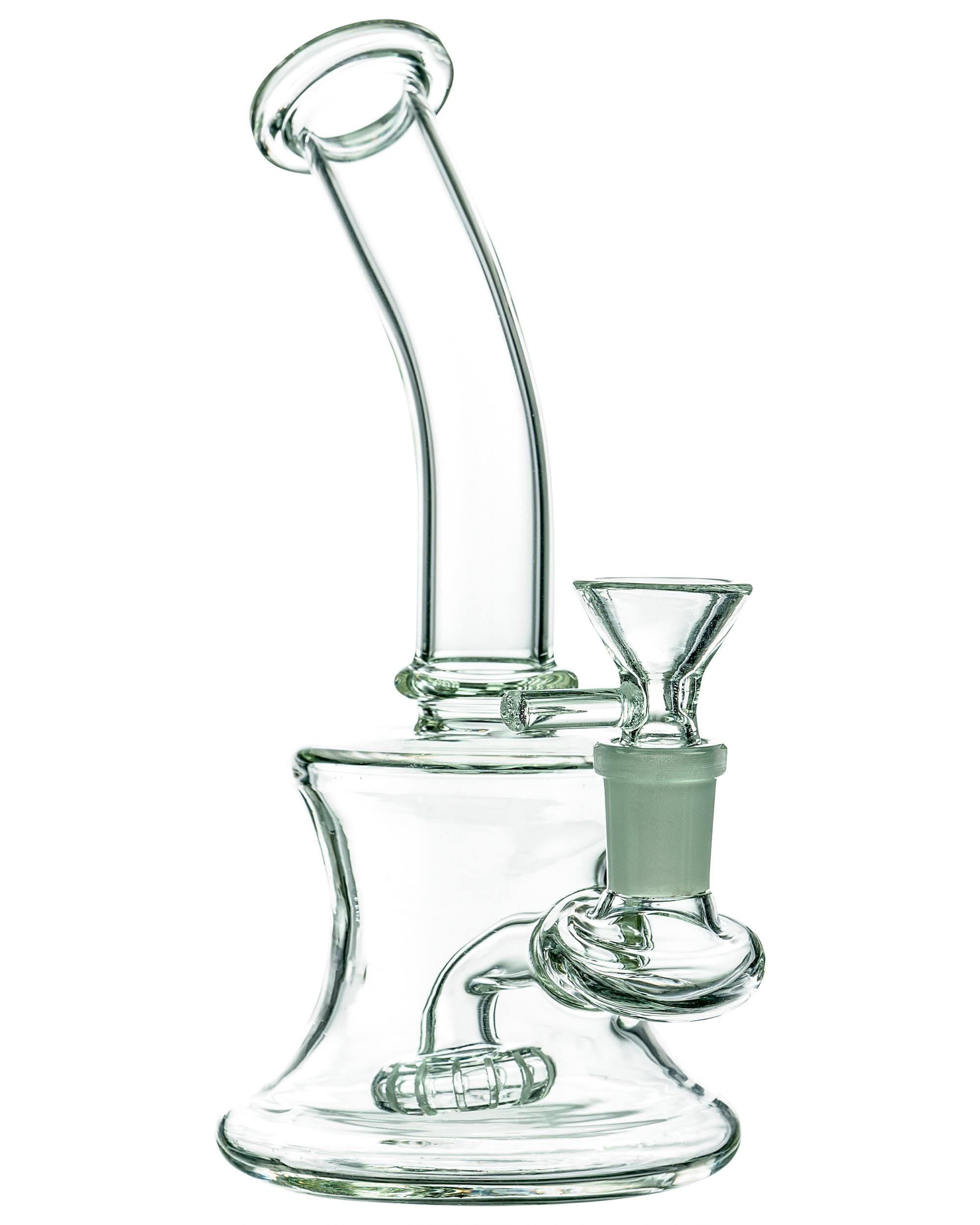LA Pipes 7 inch Clear Bent Neck Compact Travel Rig