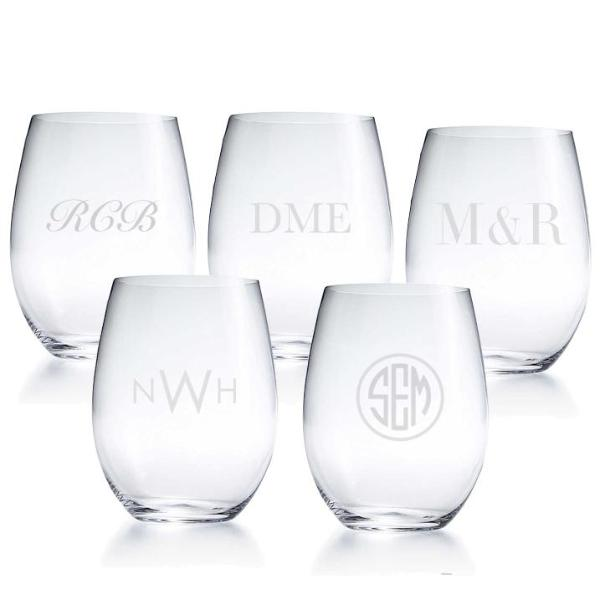 Monogrammed Stemless Glasses