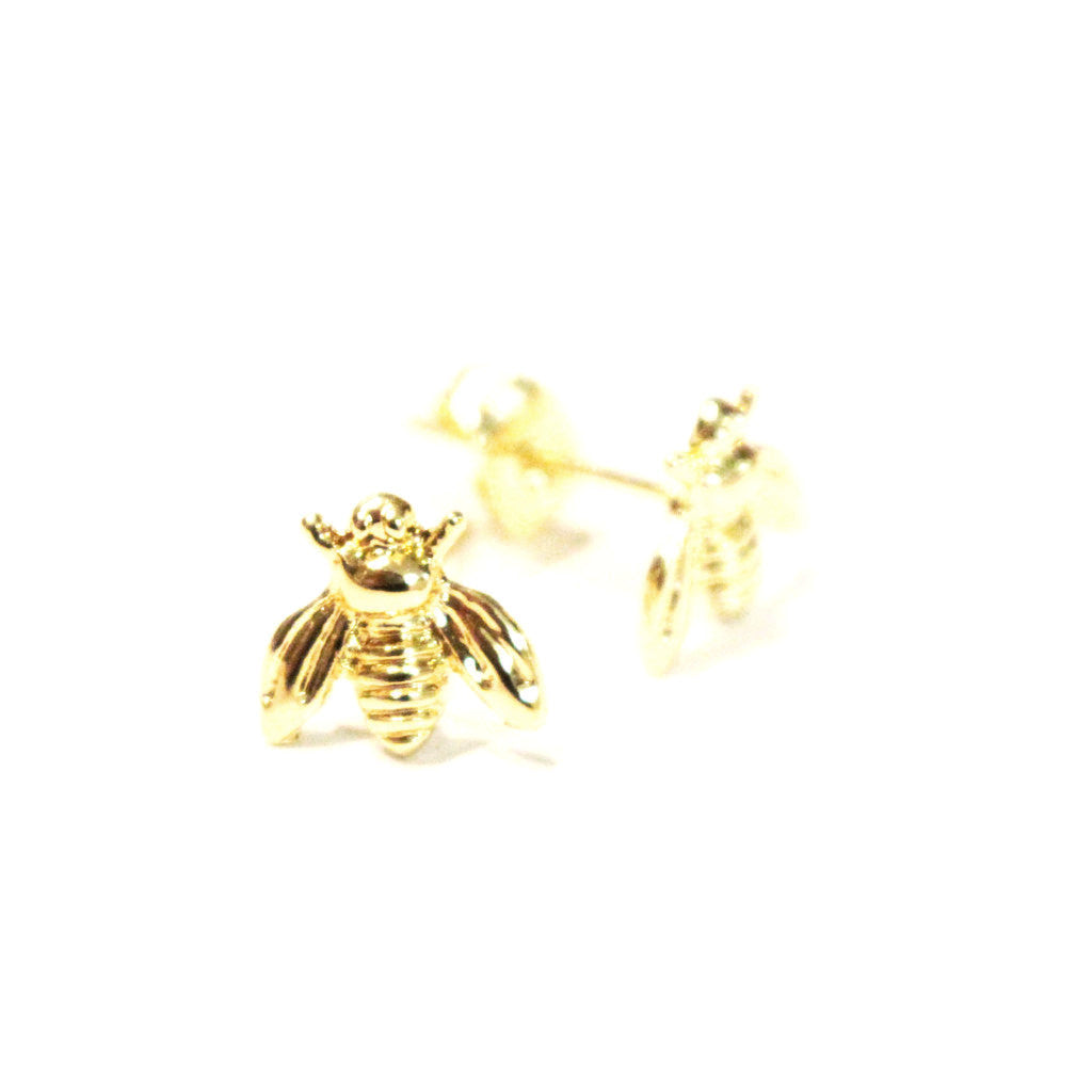 14K Gold Bee Stud Earrings