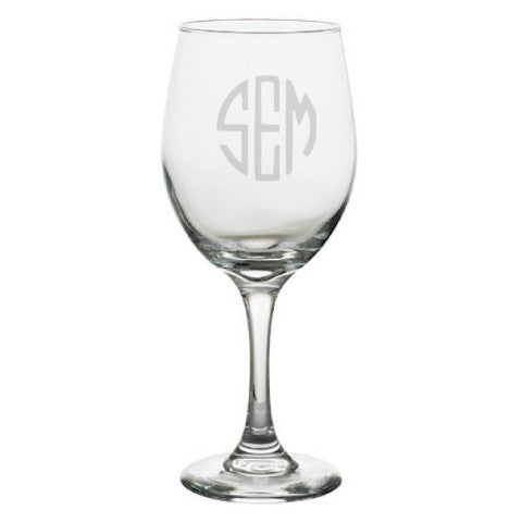 Long Stem Monogrammed Wine Glasses