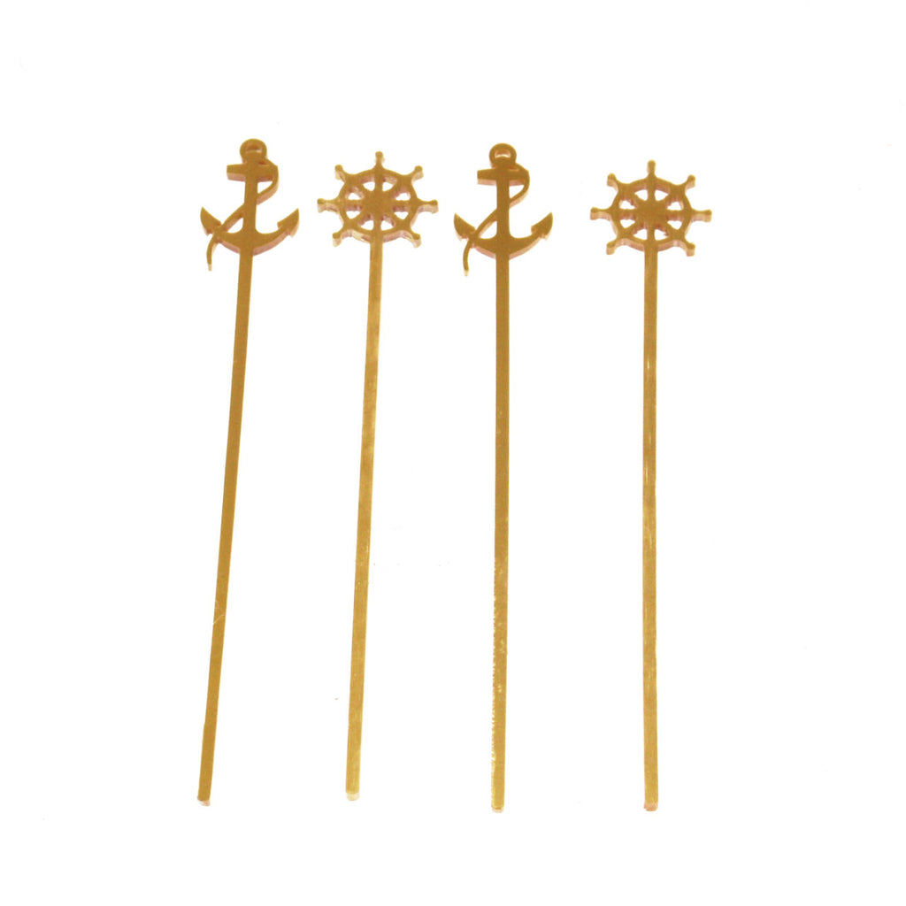 Gold Drink Stirrers- Nautical, Pineapple, Tropical and More!