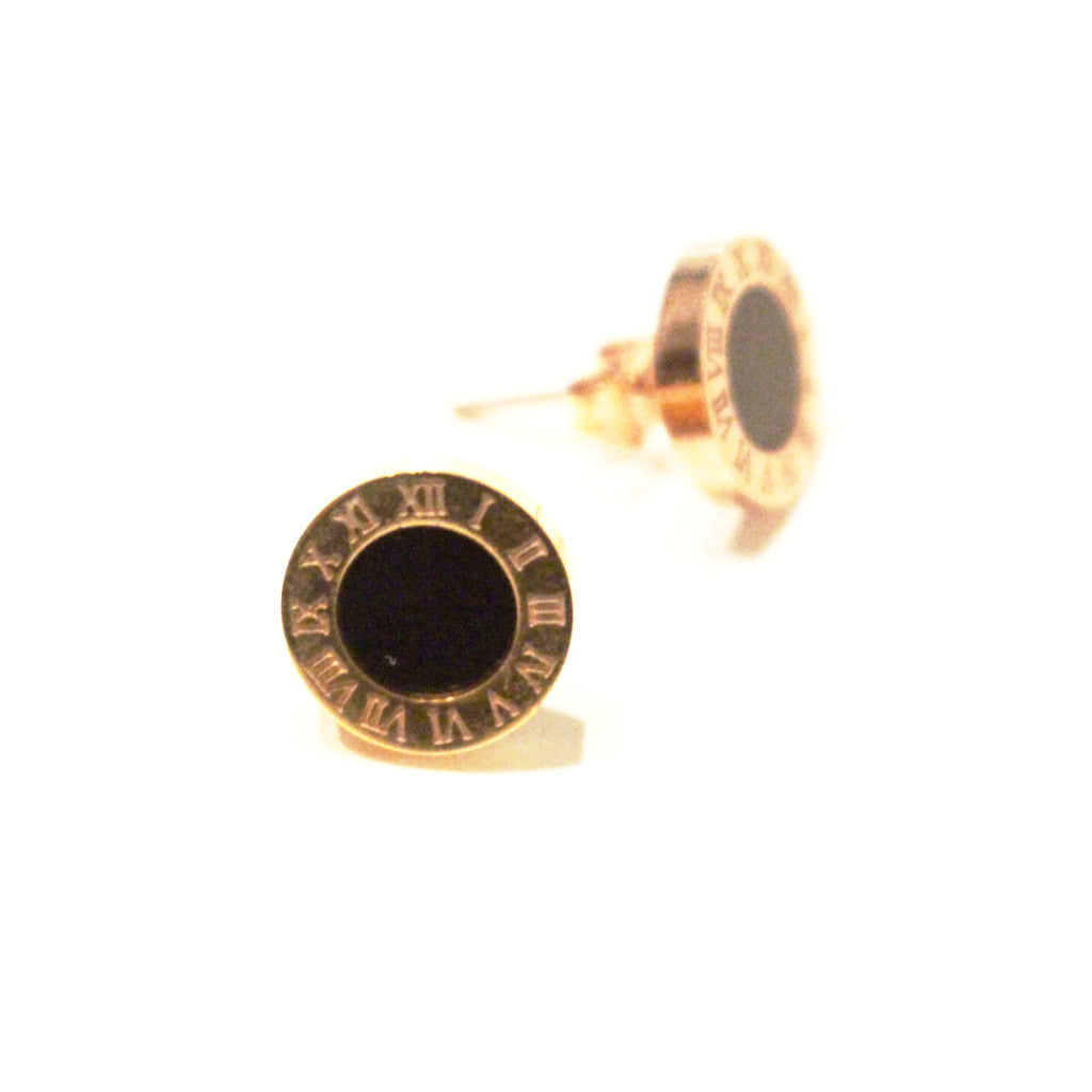 Black Onyx Roman Numeral Stud Earrings