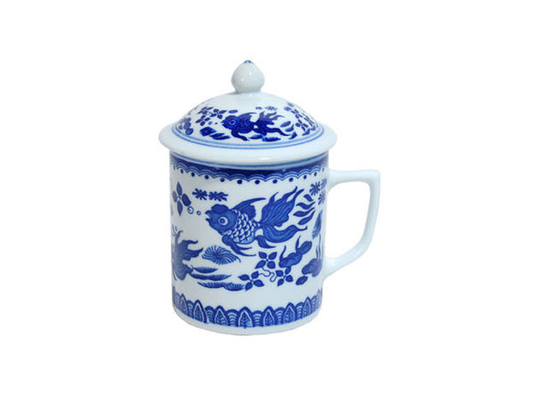 Large Blue and White Tea Cups with Top