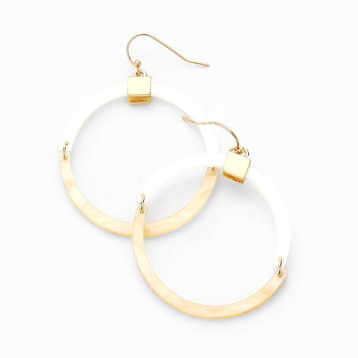 Mother of Pearl and Gold Resin Hoop Earrings