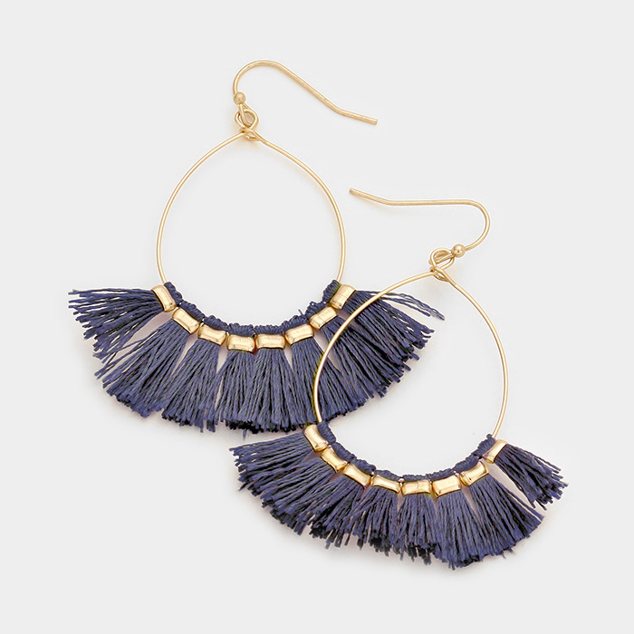Lightweight Fan Tassel Gold Hoop Earrings