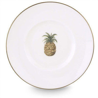 Pineapple White Bone China Plates with 24K Gold Trim