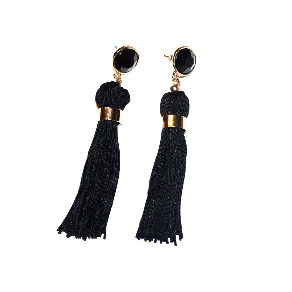 Black Drop Tassel Earrings with Crystal Stud