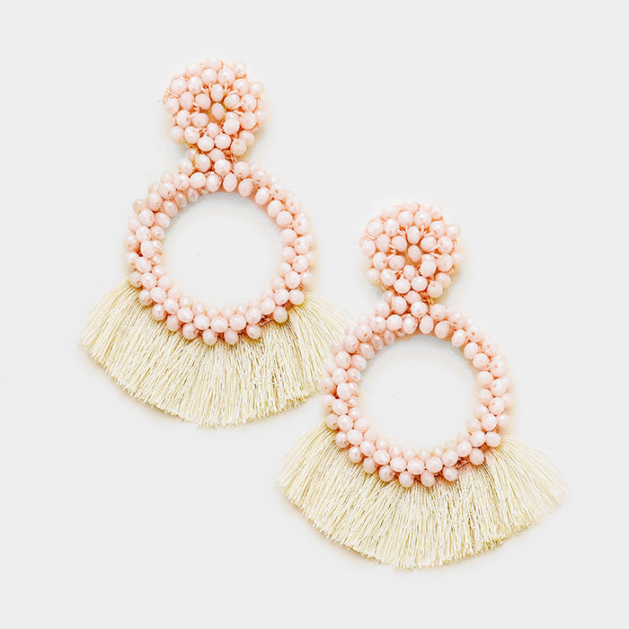 Dabney Pink Beaded and Fan Fridge Tassel Statement Earrings