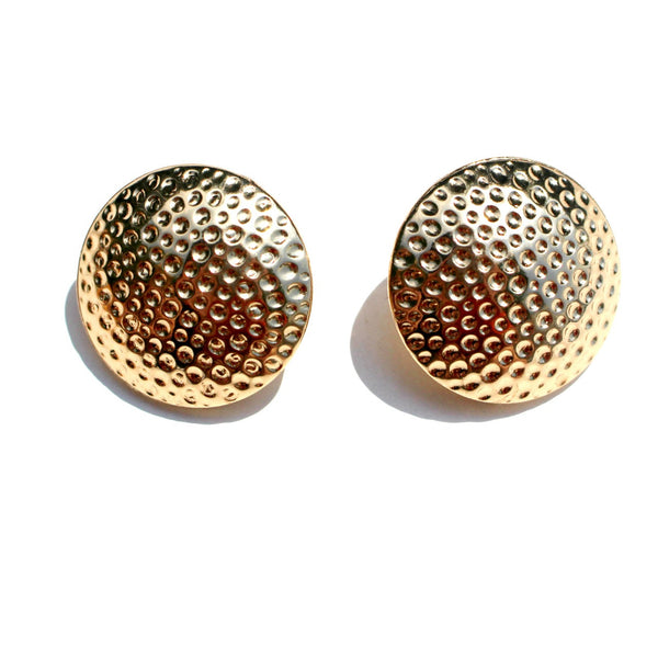 Large Hammered Gold Round Studs