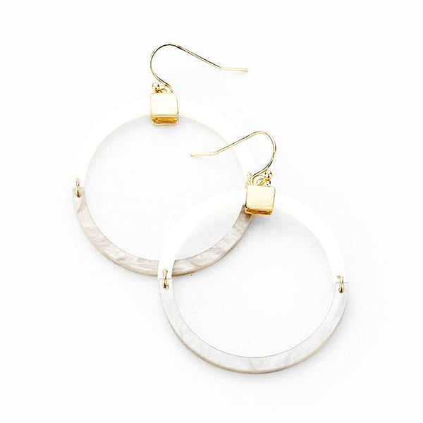 Mother of Pearl and Grey Resin Hoop Earrings