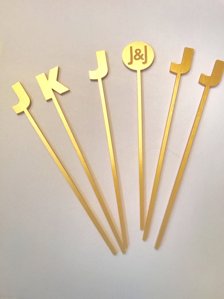 Gold Personalized Drink Stirrers