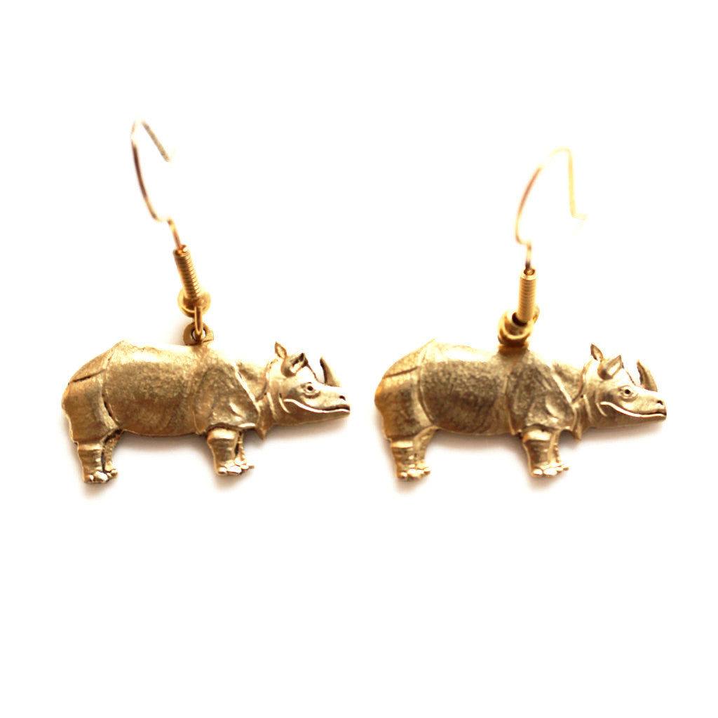 14K Gold Rhino Earrings