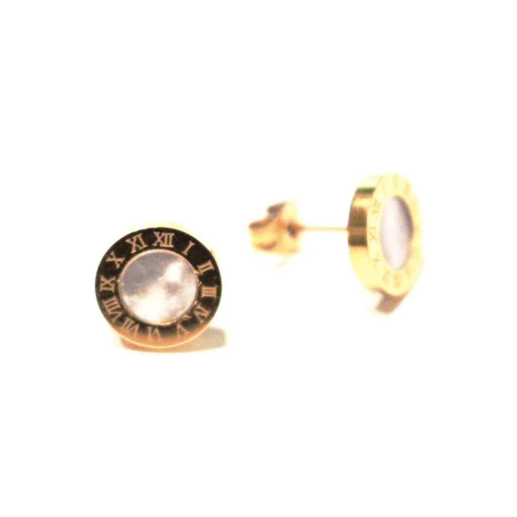 Mother of Pearl Roman Numeral Stud Earrings