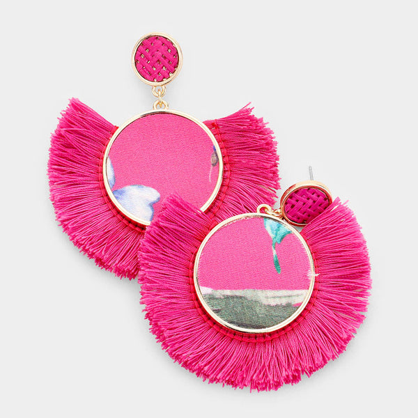 Pink Fabric Tassel Earrings