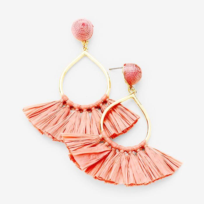 Dusty Rose Fan Fringe Tassel Earrings