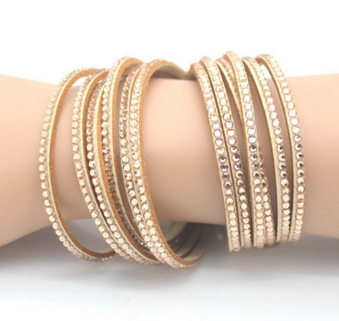 Rose Gold Crystal Six Layer Wrap Bracelet