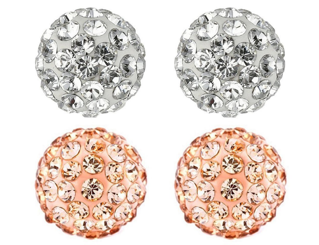 Crystal Disco Ball Stud Earrings