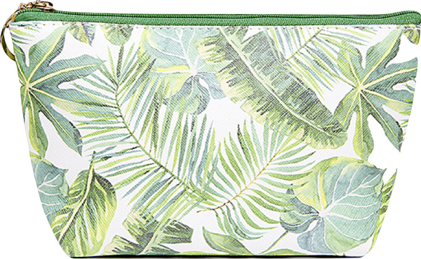 Tropical Leaf Pouch/ Cosmetic Bag