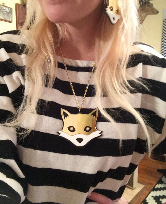 Laser Cut Mirrored Gold Fox Jewelry