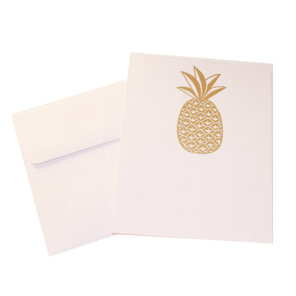 Gold Embossed Pineapple Stationery