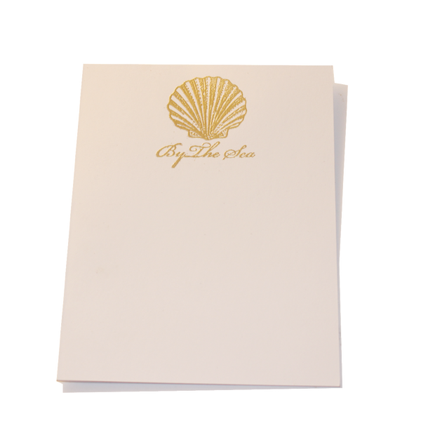 Gold Embossed Seashell Stationery
