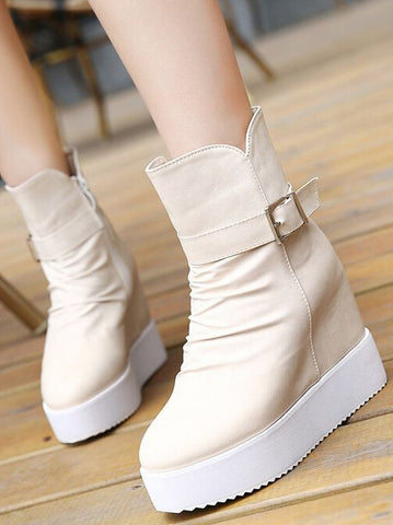 Pure Color Thick With Wedge Boot LAVELIQ