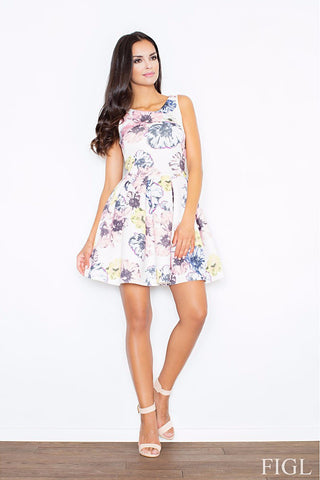 Flared Sleeveless A-line Floral Dress LAVELIQ