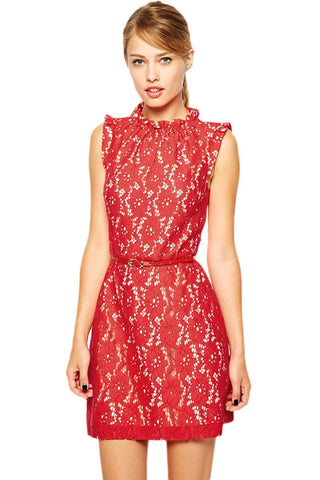 Red High Neck Lace Skater Dress With Belt LAVELIQ