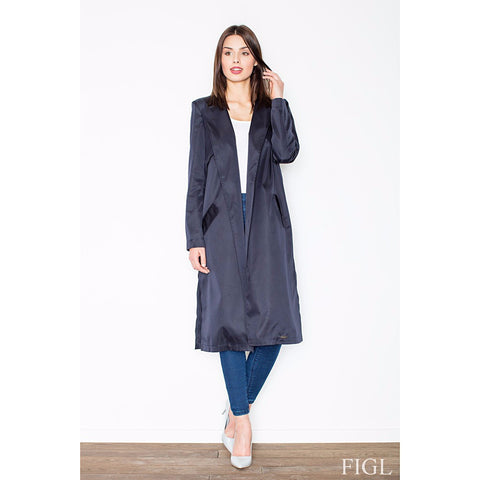 Navy Elegant Coat Without Fastening Laveliq LAVELIQ