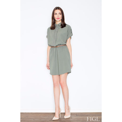 Dark Green Loose-Fitting Dress With A Collar Laveliq LAVELIQ