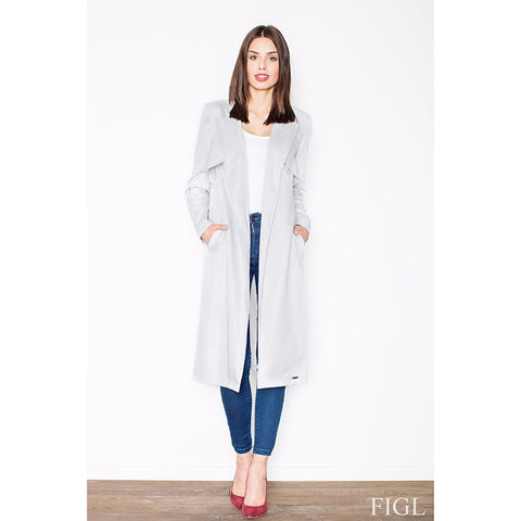 Grey Elegant Coat Without Fastening Laveliq LAVELIQ