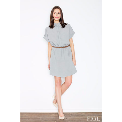 Grey Loose-Fitting Dress With A Collar Laveliq LAVELIQ