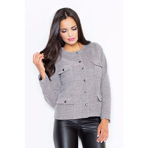 Grey Jacket With Zipper Fastening Laveliq LAVELIQ