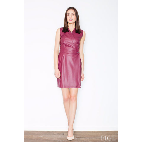 Maroon Eco-Leather Wrap Dress Laveliq LAVELIQ