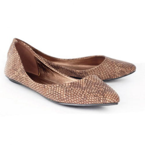 Laconic Casual Snake Patterns Shallow And Pointed Toe Design Women'S Flat Shoes LAVELIQ