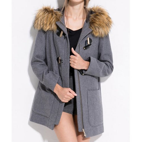 Casual Fur Embellished Solid Color Pockets Horn Button Long Sleeves Slimming Hooded Coat LAVELIQ