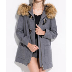 Casual Fur Embellished Solid Color Pockets Horn Button Long Sleeves Slimming Hooded Coat LAVELIQ - LAVELIQ