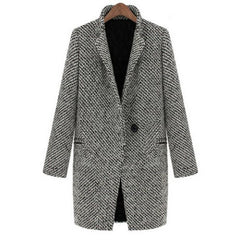 Fashion Long Edition Stand Collar Houndstooth Single Button Long Sleeves Slimming Women'S Coat LAVELIQ - LAVELIQ
