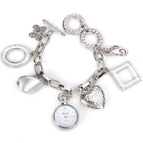 Stylish Quartz Watch With Round Dial And Heart Butterfly Chain Watch Band For Women LAVELIQ - LAVELIQ - 3